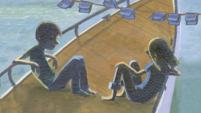 Zwei Kinder auf einem Boot (gemalt)