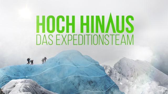 Bergspitze mit Schriftzug Hoch Hinaus.