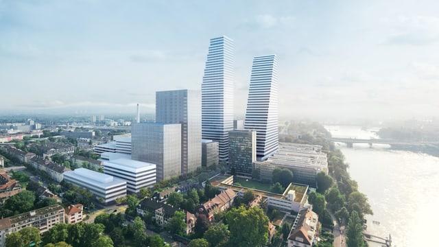 Campus mit geplanten Hochhäusern in Basel