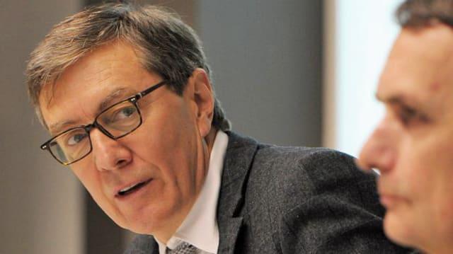 Zürichs Sozialvorsteher Martin Waser bei der Medienkonferenz zum geplanten Bundesasylzentrum in Zürich-West