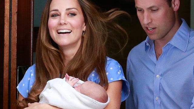 William und Catherine mit ihrem Baby George Alexander Louis.