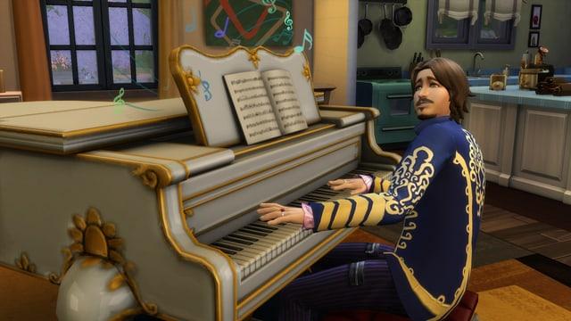 Ein Sims spielt ein Lied an einem Klavier.