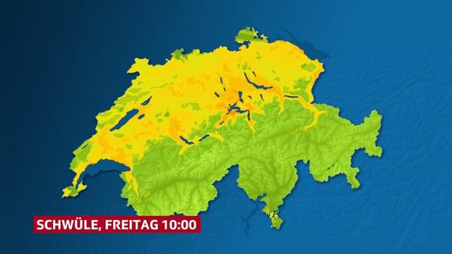 Nur noch gelbe Flächen im Norden.
