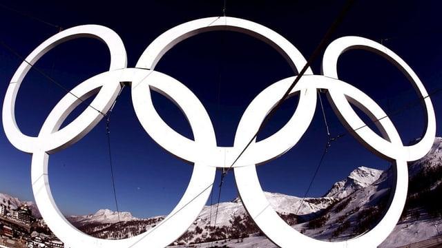 Rintgs olimpics davant culms e tschiel blau.