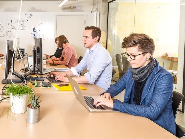 Coworker arbeiten im Gemeinschaftsbüro