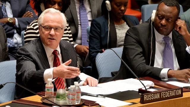 UNO-Botschafter Witali Tschurkin bei seiner Rede im Sicherheitsrat.