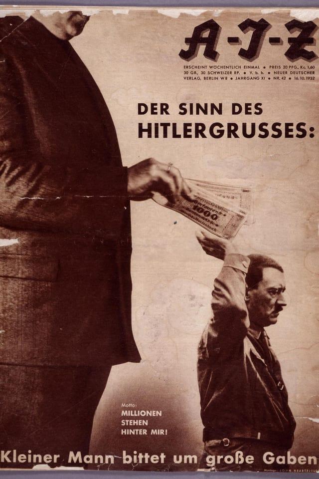 Ein grosser Mann gibt Hitler Geldscheine in seine Hand.