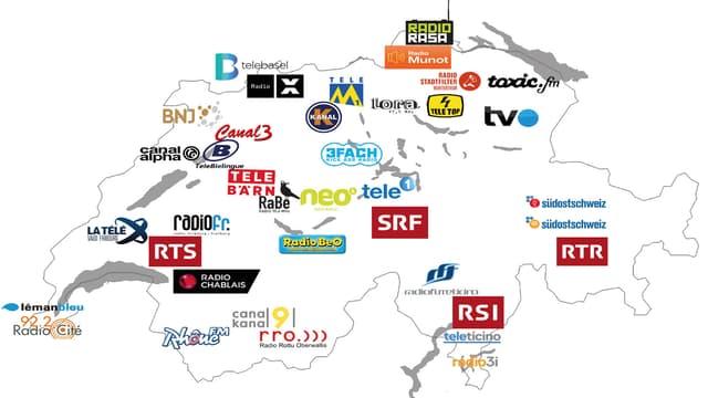 carta geografica cun tut ils radios privats locals e las televisiuns privatas