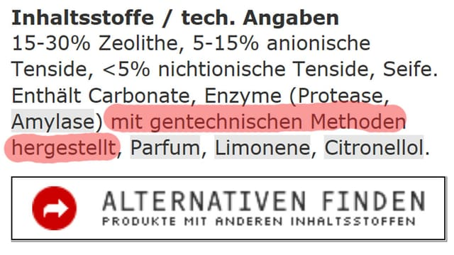 Abbildung der Inhaltsstoff-Liste des Waschmittels Oecoplan