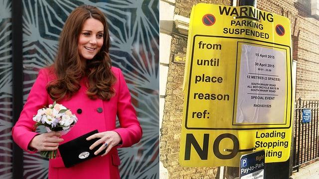 Herzogin Catherine hält eine Tasche und einen Blumenstrauss. Daneben ist ein gelbes Parkverbotsschild.
