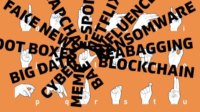 """das Fingeralphabet im Hintergrund, im Vordergrund digitale Begriffe wie """"Cyber"""", """"Blockchain"""", """"Meme"""""""