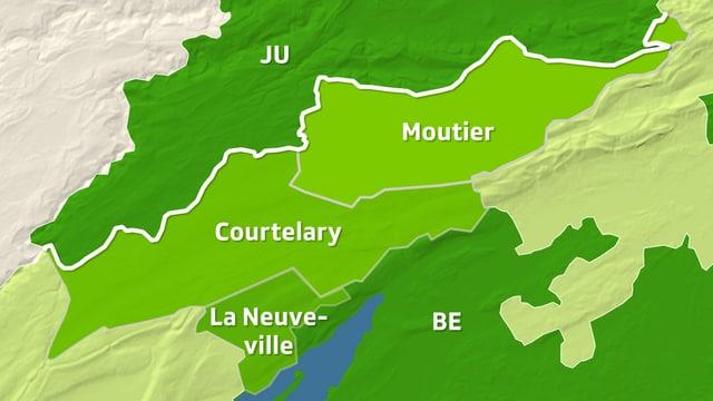 Karte zeigt den Berner Jura.