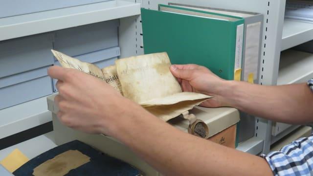 Ein Mitarbeiter des Staatsarchivs hält ein altes Dokument in den Händen.