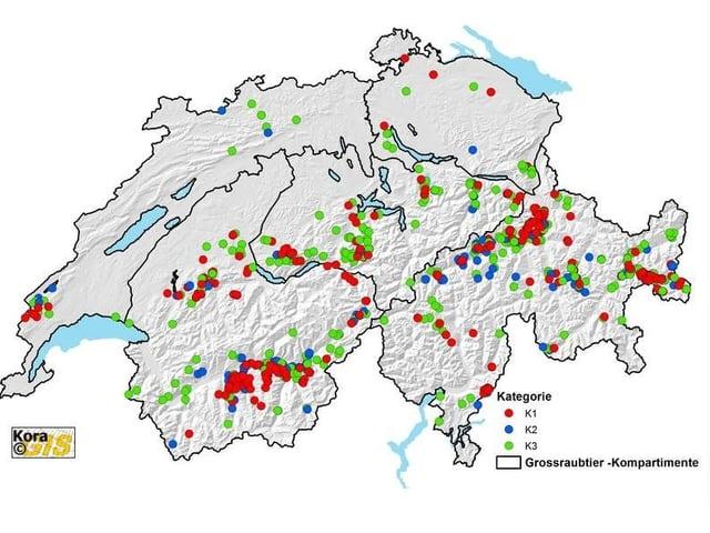 Wolfsnachweise in der Schweiz Januar-Dezember 2017