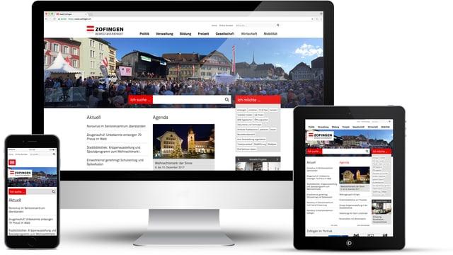 Computer, Smartphone und Tablett mit der Website der Stadt Zofingen.