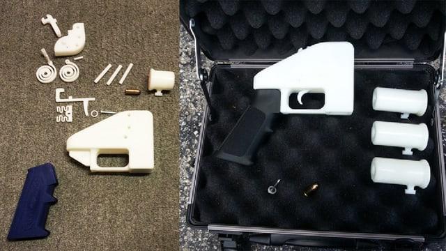 Die Kunststoffteile der Pistole.