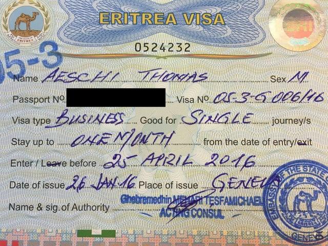 Visum für Eritrea von Thomas Aeschi.