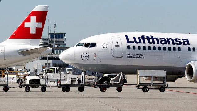 Vorderteil eines Lufthansa-Flugzeugs, links daneben das Heck einer Swiss-Machine