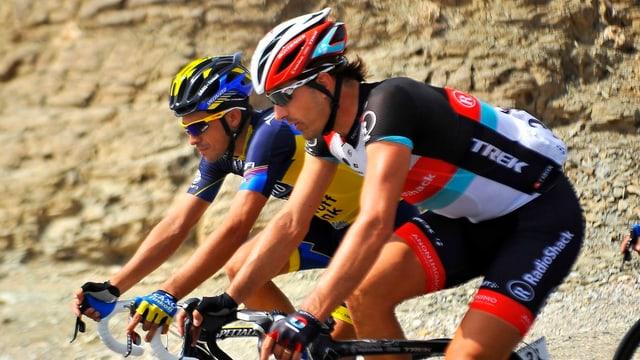 Fabian Cancellara mit Alberto Contador an der Oman-Rundfahrt