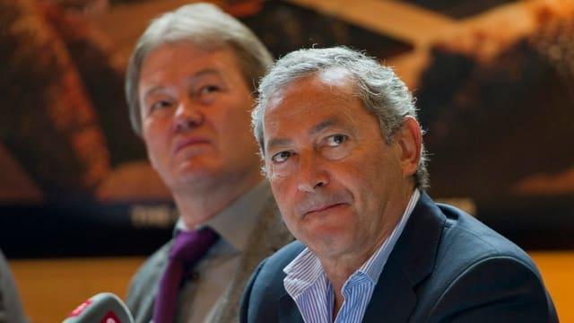 Bo Halvardsson und Sami Sawiris bei der Präsentation in Andermatt.