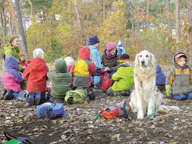 Kinder, Erwachsene und ein Hund sitzen im Wald.