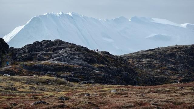 Eine karge Landschaft im Vordergrund, im Hintergrund schwimmt ein riesiger Eisberg.