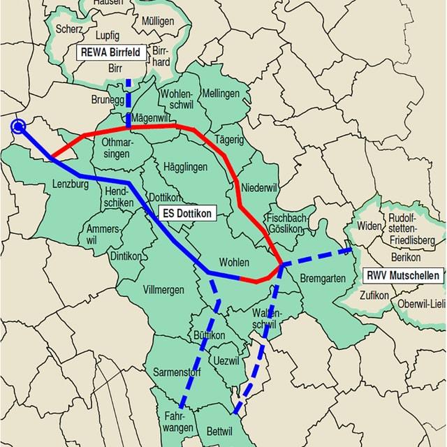 Karte mit den involvierten Gemeinden beim Projekt