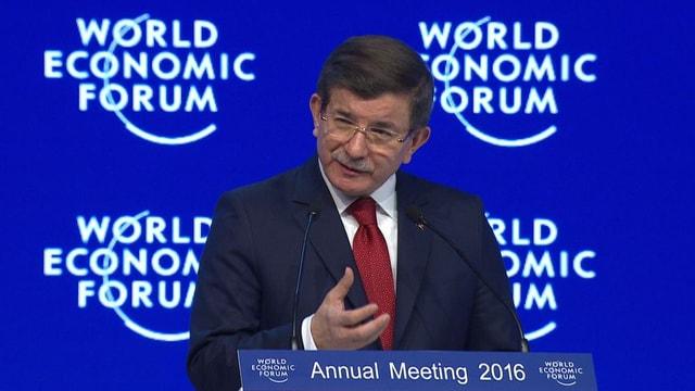 Ahmet Davutoglu bei seiner Rede am WEF.