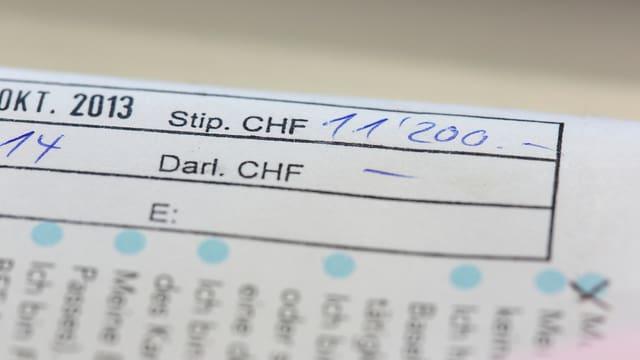 Ein Stipendienantrag mit dem von Hand eingetragenen Betrag von 11'200 Franken.