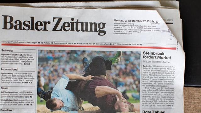 Titelseite der Basler Zeitung