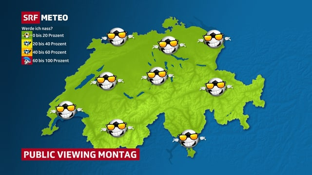 Auf einer grünene Schweizkarte sind die Wetterverhältnisse beim Public Viewing in Form von Fussbällen mit Sonnenbrillen eingezeichnet.