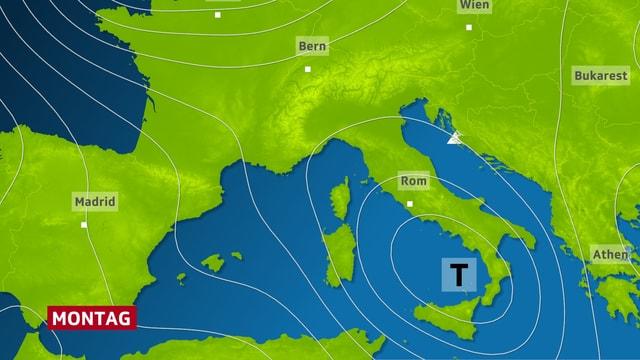 Isobaren über dem Mittelmeer für Montag.