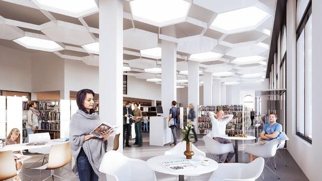 Visualisaziun da la nova biblioteca da la citad a la plazza da la post.