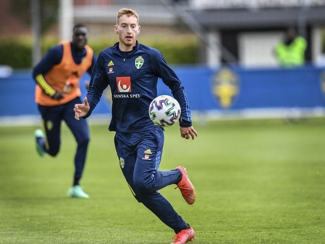 Dejan Kulusevski beim Training der schwedischen Nationalmannschaft