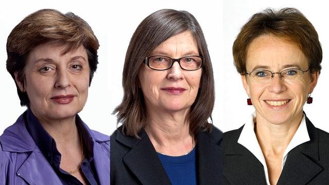 Porträts von Anita Fetz, Sylvia Schenker, Eva Herzog
