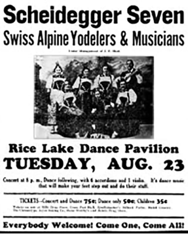 Plakat eines Konzerts der Schweizer Musiker in den USA.