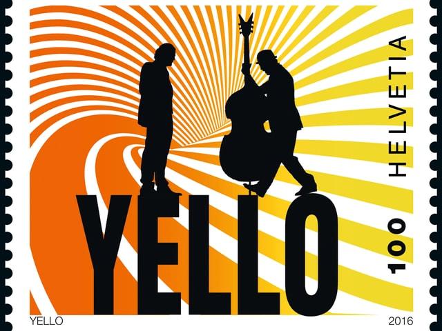 Briefmarke mit den Silouetten der Yellow-Mitglieder vor bunter Spirale.