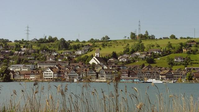 Ansich von Schmerikon mit See im Vordergrund.