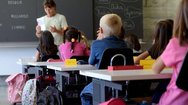 Lehrerin steht vor Schulklasse.