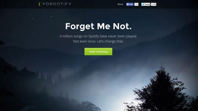 Die Webseite Forgotify: Ein dunkler Wald.
