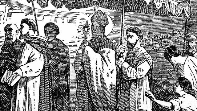 Zeichnung von Mamertus unter einem Baldachin.