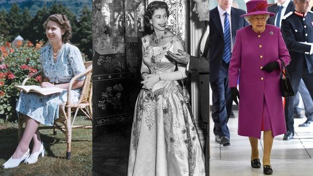 Eine Collage aus drei Fotos, welche die Queen in unterschiedlichen Lebensjahren und unterschiedlichen Kleidungsstilen zeigt.
