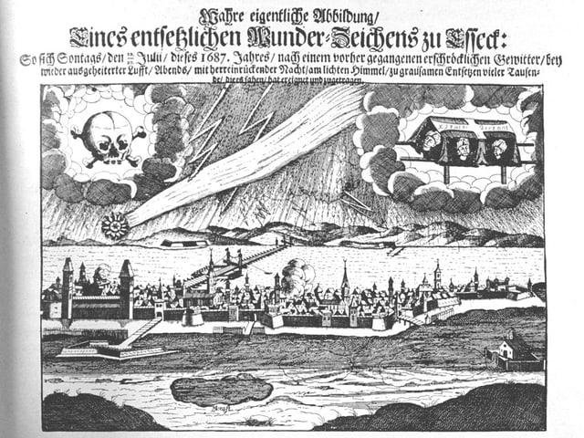 Der Komet bringt Tod, Unwetter und den Einfall der Osmanen (von rechts nach links).