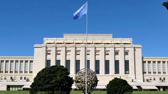 Das Gebäude der Vereinten Nationen in Genf von vorne.