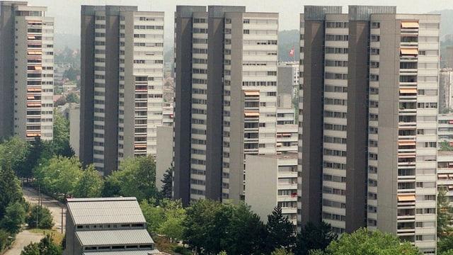 Blick auf die Hochhäuser des Berner Tscharnerguts: