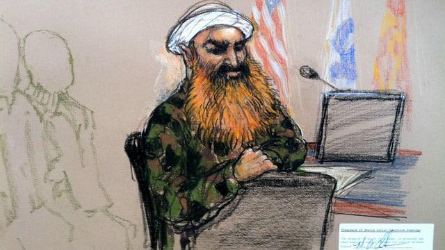 Gezeichnetes Bild von einem Mann mit einem langen Bart und einem Turban vor Gericht.