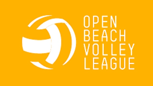 "Balla da volley alva ed il text ""Open Beach Volley League"" alv sin in funs mellen."