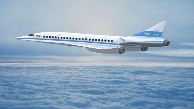 Der neue Boom-Jet, hier in einer Visualisierung, fliegt über ein Wolkenmeer.