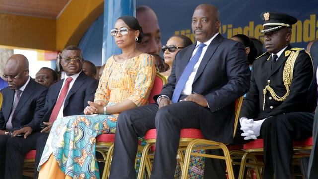 Präsident Kabila und Kongos First Lady Marie Olive Lembe am Unabhängigkeitstag vom 30. Juni 2016.