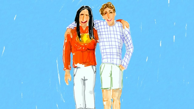 eine Zeichnung von zwei Männern, die sich umarmen